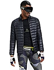 HUKOER Chaqueta de pluma de Invierno plumón para hombres Compresible Ligero Acolchada terciopelo de pato abrigo chaqueta abajo (Negro, XXL)