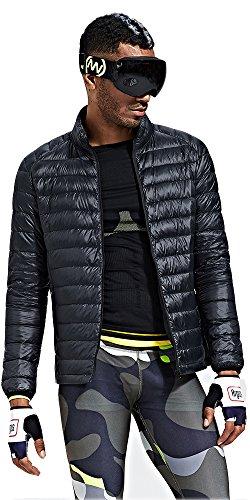 HUKOER Chaqueta de pluma de Invierno plumš®n para hombres Compresible Ligero Acolchada terciopelo de pato abrigo chaqueta abajo (Negro, XXL)