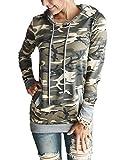 Impresión Para Mujer de Camuflaje Bolsillo del Suéter con Capucha Sudadera Remata la Blusa Pullover Hoodies Camuflaje M
