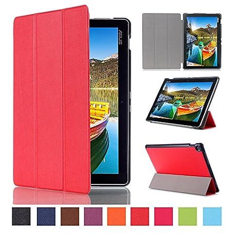 WindTeco Étui ASUS ZenPad 10 Z301MFL / Z2301ML / Z300M / Z300C - Etui Housse Ultra Mince et Léger à Rabat avec Support et Fonction Réveil / Sommeil Automatique pour Tablette ASUS ZenPad 10 Z301MFL / Z2301ML / Z300M / Z300C / Z300CG / Z300CL 10.1 Pouces, Rouge