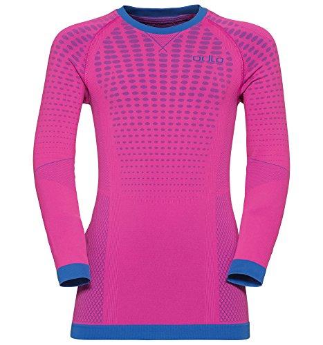 Odlo Kinder Shirt l/s Crew Neck Evolution Warm Unterwäsche, Pink Glo-Lapis Blue, 152/164