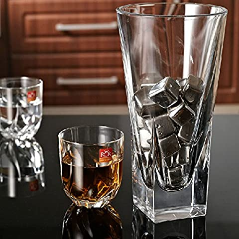 Inovey 2Pcs Acier Inoxydable Whisky Pierres Cube Glacier Whiskey Roches