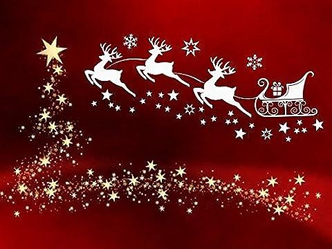 Fensterdekoration zu Weihnachten - Rentierschlitten, Rentier mit 29 Sternen und Schneeflocken weiss 70023-58x26 cm - Aufkleber, Fensterbild / Fensteraufkleber, Wandtattoo Deko Sticker, Autoaufkleber, Weihnachtsdekoration, Schaufenster In- und Outdoor