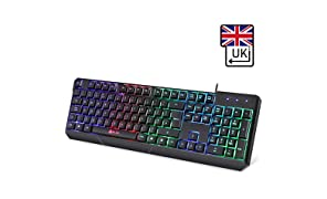 KLIM Chroma Backlit Gaming Keyboard - [ QWERTY UK LAYOUT ] - Wired - LED Rainbow Lighting - Slim, Durable, Ergonomic, Quiet, Waterproof - RGB PC Gamer PS4 Mac - Silent Keys with Light Color - Black