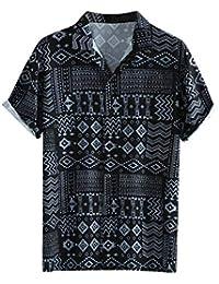 Camisas para Hombre Fiesta Manga Corta Informal Sexy Hippie Camisetas Hombres De Playa Retro Estampado De Hawaii Blusa Casual Hawaiana Tops