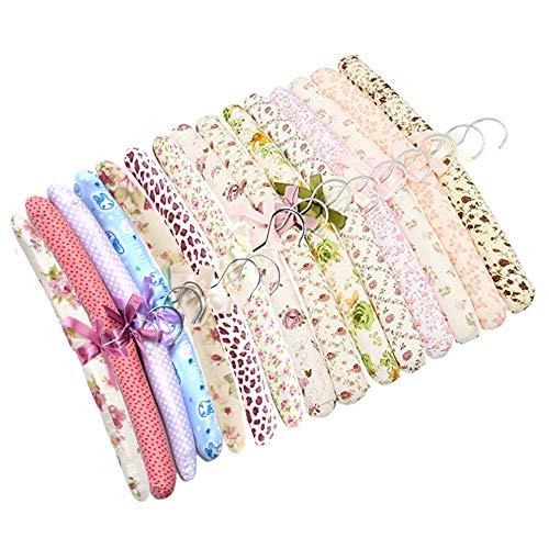 SwirlColor 10 morceaux de livraison florale rembourrés de coton Cintres souple en tissu Hanger-aléatoire