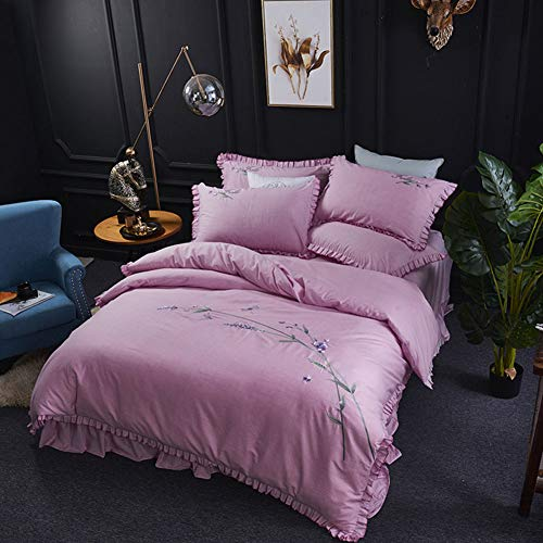 Baumwolle Bestickt Bett Rock vierteilige Baumwolle super weiche Quilt Bettwäsche Doppelbett Bettbezug mit Reißverschluss,Purple,78x90 -