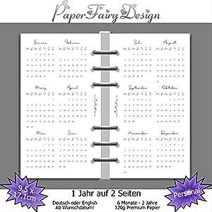 Kalendereinlagen 2020 - Personal (9,5cm x 17,1cm) - 1 Jahr auf 2 Seiten - 120g Premium Papier