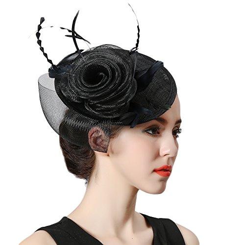 Koola\'s hats Damen Fascinator Cocktail Hatinator Pillbox Hut Hochzeit Haar Clip Hut Stirnband