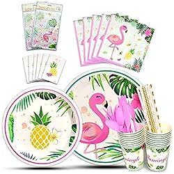 WERNNSAI Set de Vaisselle Flamant - 146 PCS Décoration de Fête Tropical Ananas pour Filles Anniversaire Baby Shower Comprend Sac à Couverts Assiettes Plaques nappes Serviettes Pailles Ustensiles