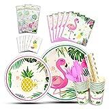 WERNNSAI Flamingo Geschirr Set - 146 PCS Tropical Hawaiian Party Zubehör für Mädchen Geburtstag Baby Shower Inklusive Bestecktasche Tischdecke Platten Tassen Servietten Strohhalme Utensilien 16 Gäste