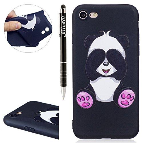 Custodia iPhone 7, iPhone 7 Cover Silicone, SainCat Custodia in Morbida TPU Protettiva Cover per iPhone 7, 3D Silicone Case Ultra Slim Sottile Morbida Transparent TPU Gel Cover Case Shock-Absorption A Giant Panda