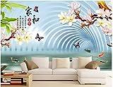 BHXINGMU Benutzerdefinierte Wandbilder Fototapeten Chinesische Magnolie Und Fische Große Schlafzimmer Wohnzimmer Dekorative Aufkleber 280Cm(H)×400Cm(W)