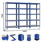 Yaheetech 3x Lagerregal 180 x 90 x 40 cm Schwerlastregal Kellerregal pulverbeschichtet in Blau mit MDF-Regal Steckregal 875kg