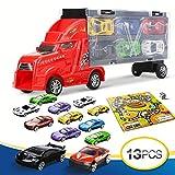 Lenbest 1 LKW Truck Transportfahrzeug und 12 pcs Personenkraftwagen Spielzeugauto, Autotransporter mit Tragegriff + Spiellandkarte, Gutes Geschenk für Jungen Mädchen