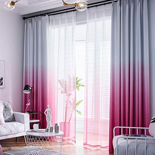 YANQ Schlafzimmer Blackout Vorhang Wohnzimmer Boden bis Decke Fenster Vorhänge Einfache Moderne Vorhang fertig frischer Garten (Farbe : Rose rot, größe : 300cm*270cm)