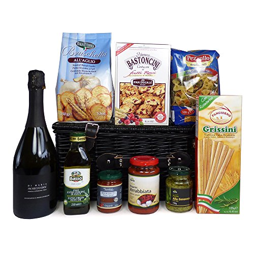 A Taste of Venice Prosecco and Food Wicker Basket Hamper - Gift Ideas for Christmas presents, Birthday, Anniversary, Wedding and Corporate