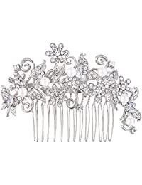 tenye cristal austriaco novia color marfil perla simulada mariposa pelo clip de peine claro tono plateado