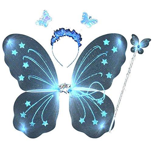 Flügeln Schmetterlings Plüsch Mädchen Kostüm - ESHOO Kind-Mädchen-Schmetterlings-Flügel-Stab-Stirnband-feenhaftes WeihnachtsParty-Kostüm 3Pcs / set