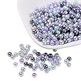 Pandahall Elite Lote de 400 Cuentas de Cristal Redondas, nacaradas, de Colores Surtidos, para elaborar Joyas, 4 mm, tamaño del Orificio: 1 mm, Cristal, Gris Argente, 4 mm