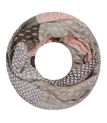 Majea NEUE Saison Damen Loop Schal viele Farben Muster Schlauchschal Halstuch in aktuellen Trendfarben (beige 6)