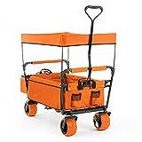 Waldbeck The Orange Supreme carretilla plegable (carga máxima 68 kg, capacidad 90 litros, ruedas extra anchas de 10 cm, estructura ligera y robusta, bolsillos laterales) - naranja