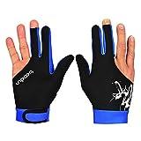 Tendance de tennis de table, gants Sports Gants d'équitation, trois doigts pour homme et femme, confortable élastique Gants de billard M bleu