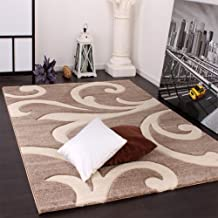 Alfombra De Diseño - Ornamentos Contorneados - Beige Crema, Grösse:60x110 cm
