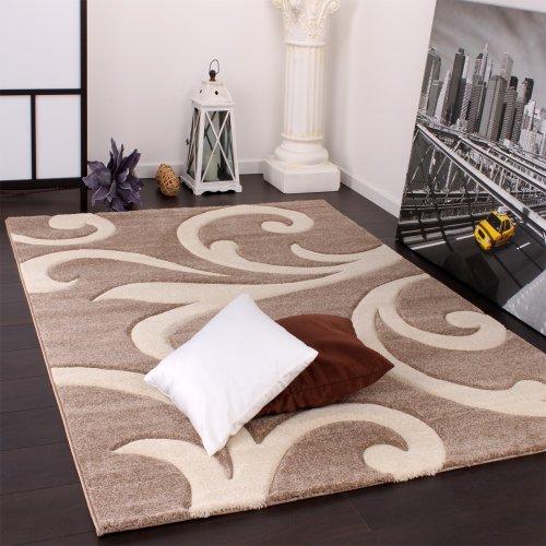 Paco home tappeto di design orlo lavorato moderno ondulato nei colori beige crema, dimensione:120x170 cm