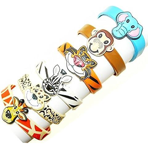 Set di braccialetti di gomma 6 animali - scimmia, elefante, tigre, leopardo, giraffa e zebra - non adatto ai bambini sotto i 36 mesi di età - Giraffe Scimmia