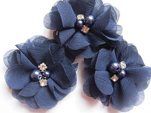 YYCRAFT 20 Stück Chiffon Blumen mit Strass und Perlen Hochzeit Dekoration/Haar Accessoire Handwerk/Nähen Craft(Navy,5cm)