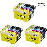 ONINO 16 16XL Tintenpatronen Hohe Kapazität Kompatibel für Epson Patronen Ersatz für Epson Druckerpatronen WF-2010W WF-2510WF WF-2520NF WF-2530WF WF-2540WF WF-2630WF WF-2650DWF WF-2660DWF WF-2750DWF WF-2760DWF (15pcs)