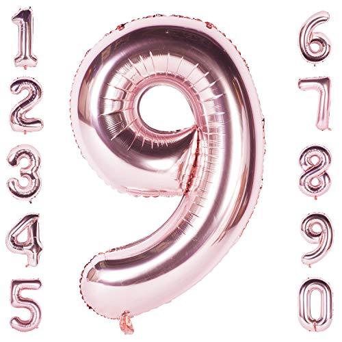iese Helium Folie Nummer 0-9 Roségold Ballon Geburtstag Hochzeitsfeier Digitale Dekorationen Nummer 9 ()