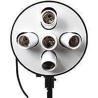 Fotga 5in1 E27 Supporto Della Lampada Luce-Testa Porta Portalampada Lampada Esagono Luce per Softbox dell'Ombrello Luce Continua