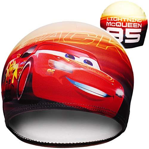 Badekappe / Badehaube -  Disney Cars / Lightning McQueen - Auto  - 2 bis 7 Jahre - Kinder - für Jungen / Jungenbadehaube - Schwimmhaube - Stoff - Duschkappe..