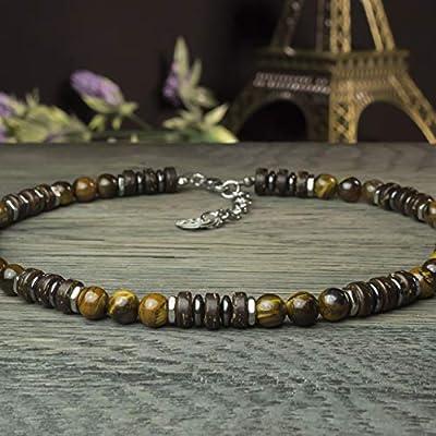 Taille 50cm Sublime Collier Homme/Femme pierre Naturelle 8mm Œil de tigre bois coco hématite métal inoxydable couleur argent COLLITIGRIN