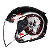 Marktos Offenes Gesicht Elektro Motorrad Helm Frauen Männer Motorrad Biker Roller Helm Black Prey M