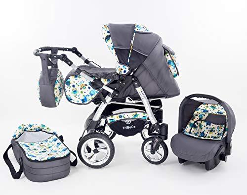 """Kinderwagen Babywagen Kombikinderwagen TriBeCe\""""Sun\"""" 3 in 1 Komplettset mit Zubehör 0-3 Jahre 0-15 kg Insektenschutz Netz Regenschutz Getränkehalter Buggy Autositz (OJ6)"""