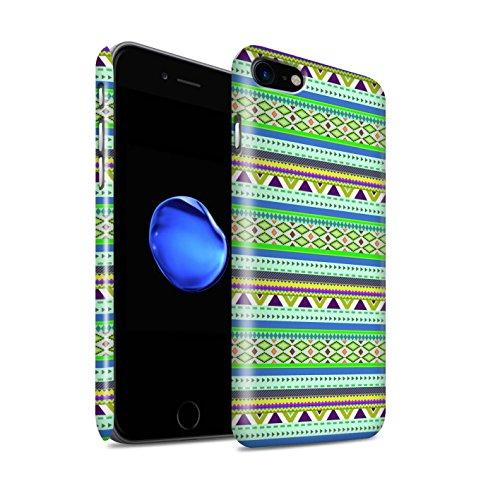 STUFF4 Glanz Snap-On Hülle / Case für Apple iPhone 8 / Grün/Rot Muster / Aztekische Stammes Muster Kollektion Grün/Lila