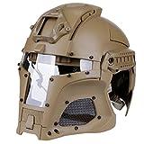 Mecotech Taktische Helm mit Maske und Schutzbrille für Softair Paintball Masken (Tan)