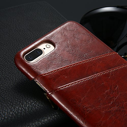 Etui für Apple iPhone 7 Plus 5.5 Zoll Hülle mit 2 Kartenfächern Hardcase in Leder-Optik Soft Touch Handy Schutzcover Phone Case Braun