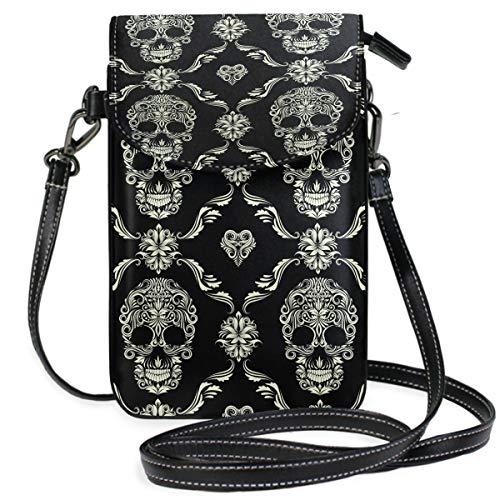 ZZKKO Sugar Skull Mini-Umhängetasche, Handtasche, Leder, für Damen, für Alltag, Reisen, Wandern, Camping (Skull Halloween Mann Sugar)