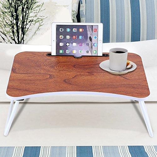 GOTOTOP Klappbares Betttablett Laptoptisch fürs Bett Laptopständer Betttisch Frühstückstisch für Sofa, Bett, Laptop - Holzfarbe