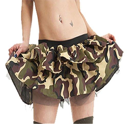 Islander Fashions Damen Twin Layer Camouflage Tutu Rock Damen Phantasie Party Wear Minirock One Size (Tutu Camouflage)