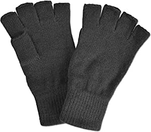 Strick Handschuhe ohne Finger in Schwarz Größe S