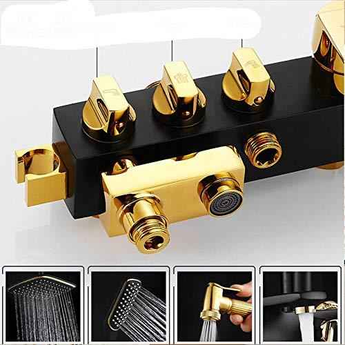 Colore: Oro e Nero con doccetta a spruzzo in Rame intarsiato GQDP Rubinetto per Bidet a Quattro velocit/à