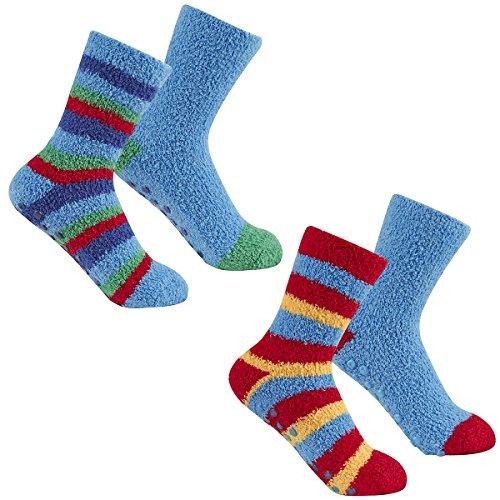 Street Essentials Boys 2 Pack Supersoft Slipper Socks