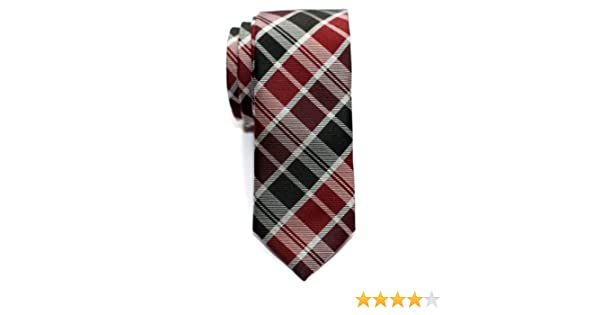 Retreez Cravate Fine Slim moderne tiss/ée en tartan pour homme