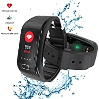 EUMI Contapassi Activity Tracker Orologio Fitness Tracker Cardio Cardiofrequenzimetro Braccialetto Bluetooth Impermeabile IP67 per Corsa e Ciclismo, Smart Tracker, Orologi Cardiofrequenzimetro HR, Pedometro, Calorie, Bracciale Notifiche, Monitor del Sonno, Guida la Respirazione, Smartwatch Fit Watch
