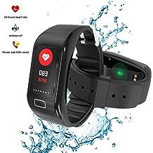 Pulsera Actividad Pulsera Inteligente Impermeable, Impermeable IP68 para Natación, Monitor de Sueño y Calorías, Podómetro, Despertador, Pulsera Bluetooth Compatible,Ritmo Cardiaco Pasos Calorías Notificación de Llamadas y Mensajes, Pulsómetro Reloj, Fitness Tracker con IOS y Android